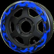 JMX16 Beadlock : Matte Black & Blue Flare (Street Ring)